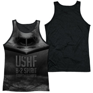 AIR FORCE/STEALTH-ADULT POLY TANK TOP BLACK BACK-WHITE