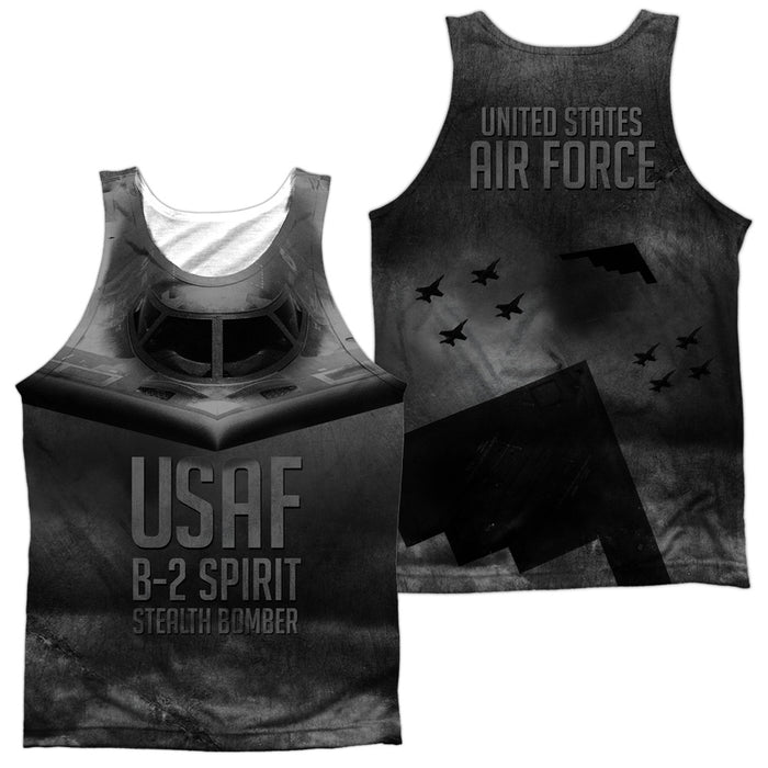 AIR FORCE/STEALTH (FRONT/BACK PRINT)-ADULT 100% POLY TANK TOP-WHITE