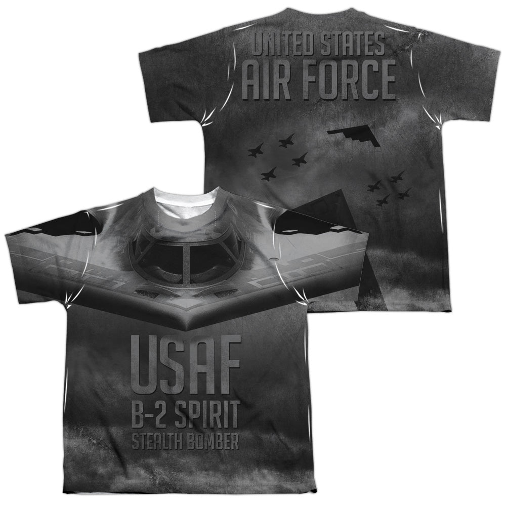 AIR FORCE/STEALTH (FRONT/BACK PRINT)-S/S YOUTH POLY CREW-WHITE