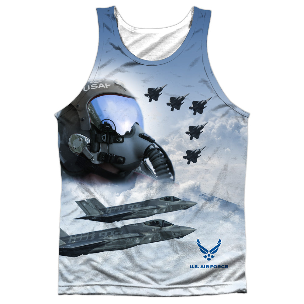 AIR FORCE/PILOT-ADULT 100% POLY TANK TOP-WHITE