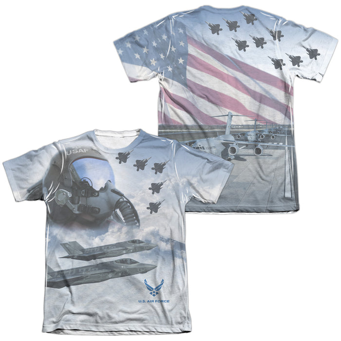 AIR FORCE/PILOT (FRONT/BACK PRINT)-ADULT POLY/COTTON S/S TEE-WHITE