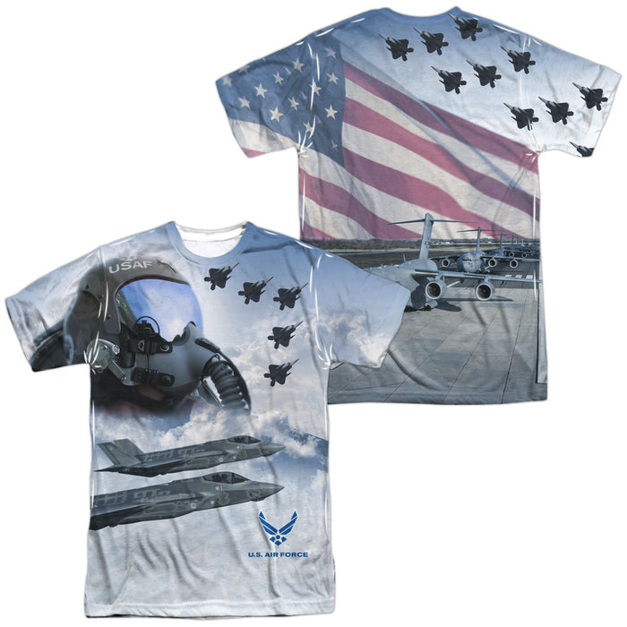 AIR FORCE/PILOT (FRONT/BACK PRINT)-S/S ADULT POLY CREW-WHITE