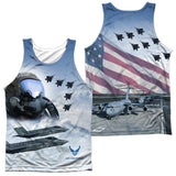 AIR FORCE/PILOT (FRONT/BACK PRINT)-ADULT 100% POLY TANK TOP-WHITE
