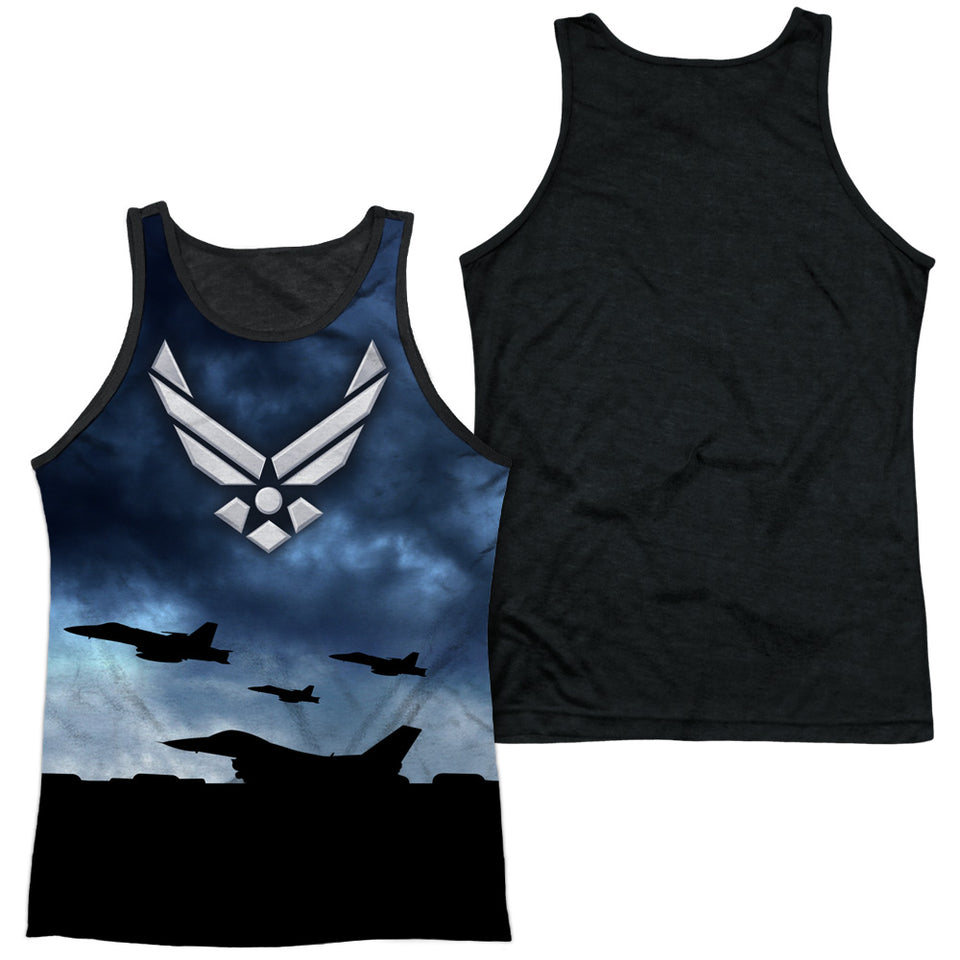 AIR FORCE/TAKE OFF-ADULT POLY TANK TOP BLACK BACK-WHITE
