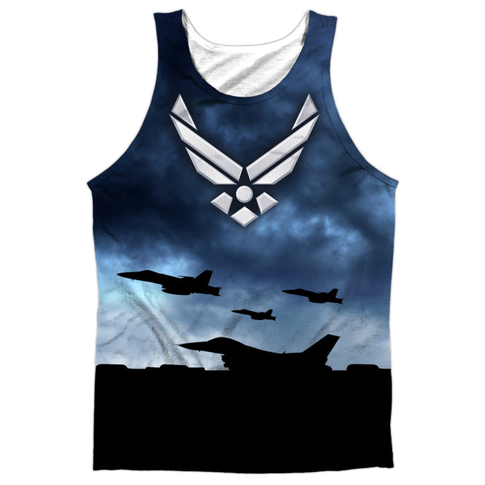 AIR FORCE/TAKE OFF-ADULT 100% POLY TANK TOP-WHITE