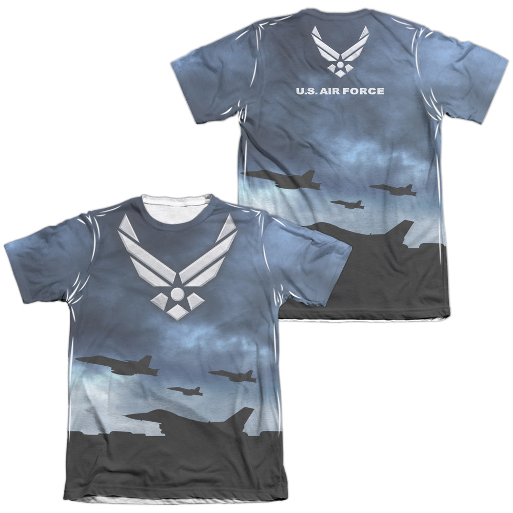 AIR FORCE/TAKE OFF (FRONT/BACK PRINT)-ADULT POLY/COTTON S/S TEE-WHITE