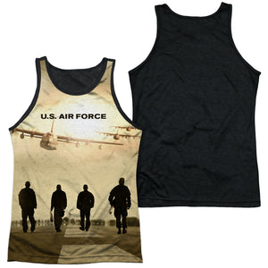 AIR FORCE/LONG WALK-ADULT POLY TANK TOP BLACK BACK-WHITE