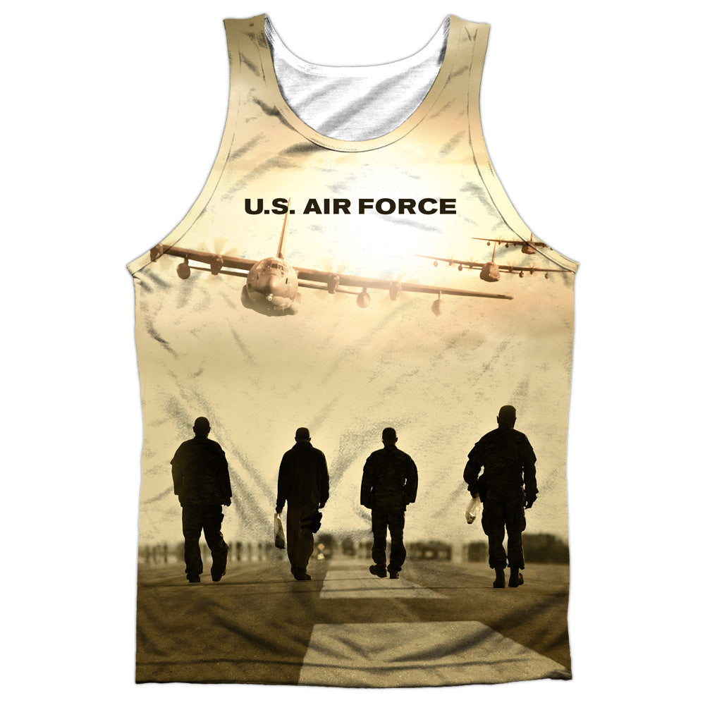 AIR FORCE/LONG WALK-ADULT 100% POLY TANK TOP-WHITE