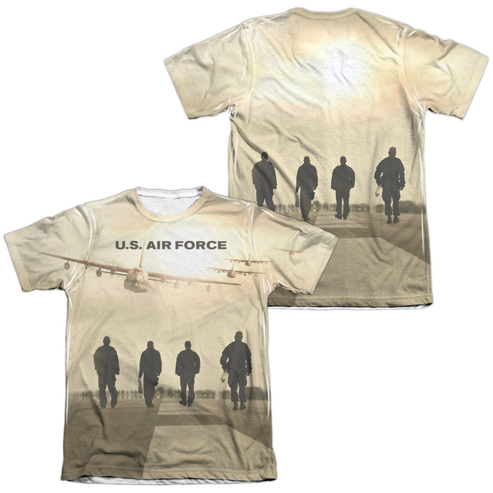 AIR FORCE/LONG WALK (FRONT/BACK PRINT)-ADULT POLY/COTTON S/S TEE-WHITE