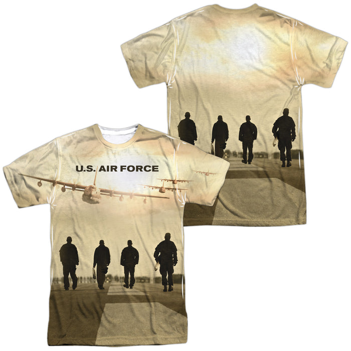 AIR FORCE/LONG WALK (FRONT/BACK PRINT)-S/S ADULT POLY CREW-WHITE