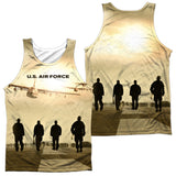 AIR FORCE/LONG WALK (FRONT/BACK PRINT)-ADULT 100% POLY TANK TOP-WHITE