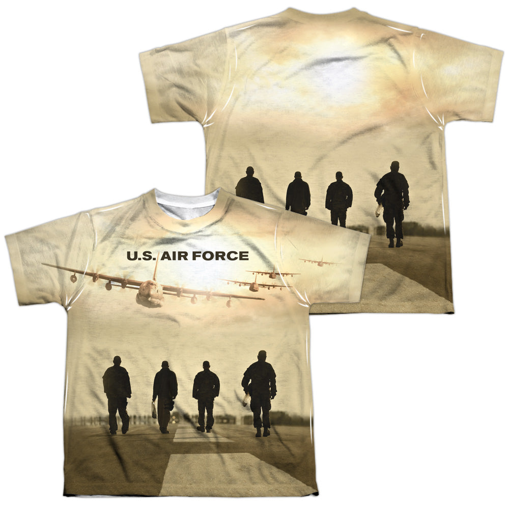 AIR FORCE/LONG WALK (FRONT/BACK PRINT)-S/S YOUTH POLY CREW-WHITE