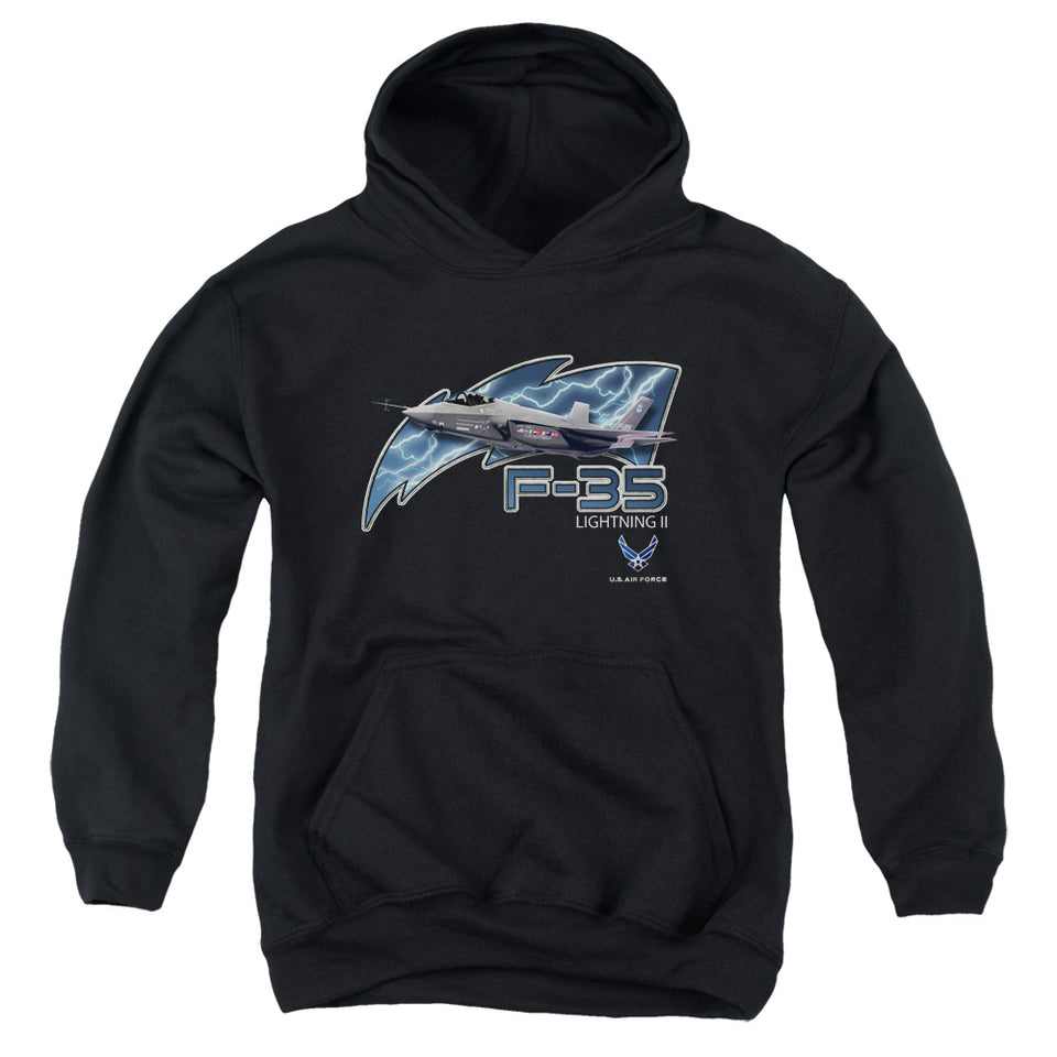 AIR FORCE/F35-YOUTH PULL-OVER HOODIE - BLACK