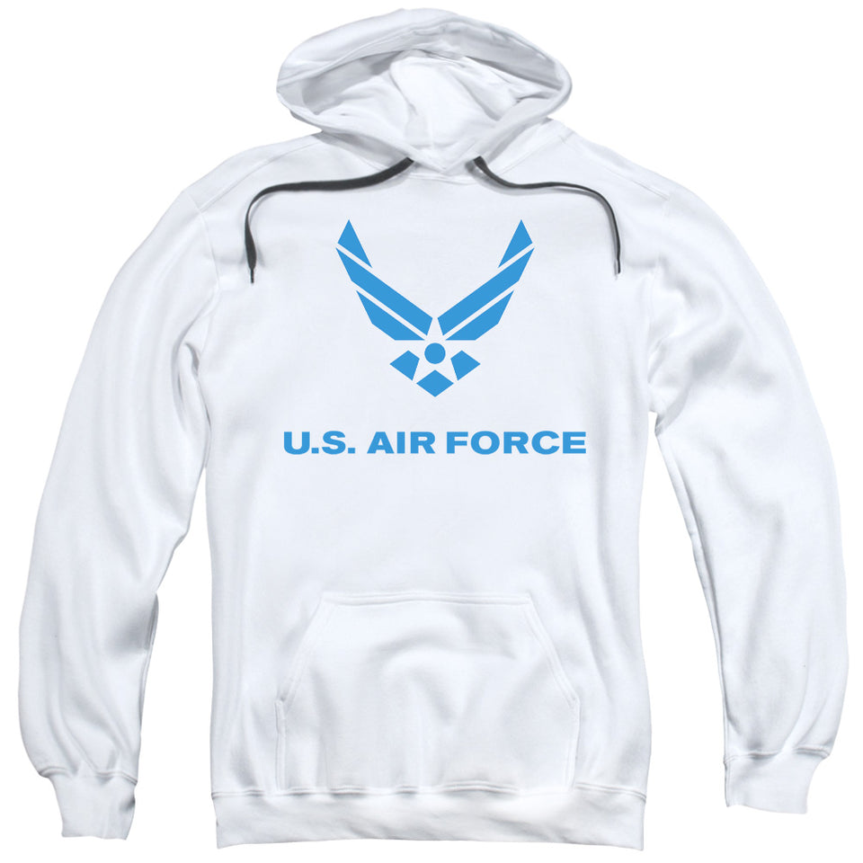 AIR FORCE/DISTRESSED LOGO-ADULT PULL-OVER HOODIE-WHITE