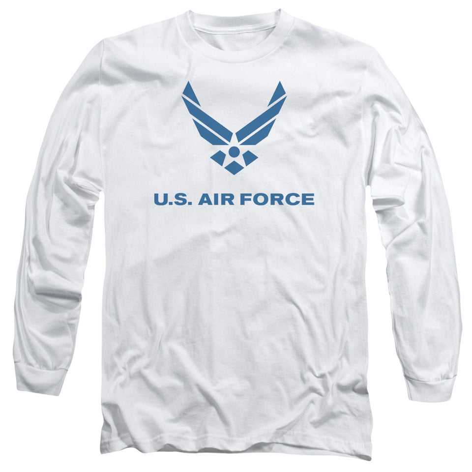 AIR FORCE/DISTRESSED LOGO-L/S ADULT 18/1-WHITE