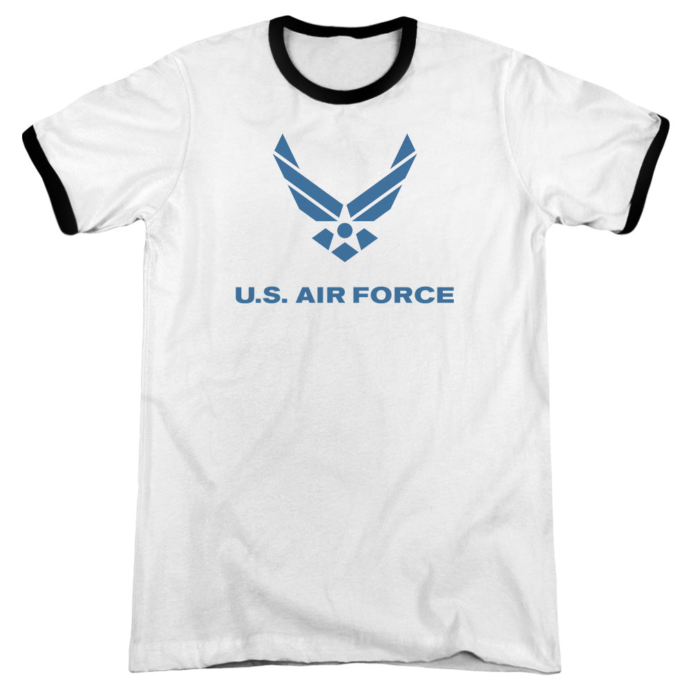 AIR FORCE/DISTRESSED LOGO - ADULT RINGER - WHITE/BLACK