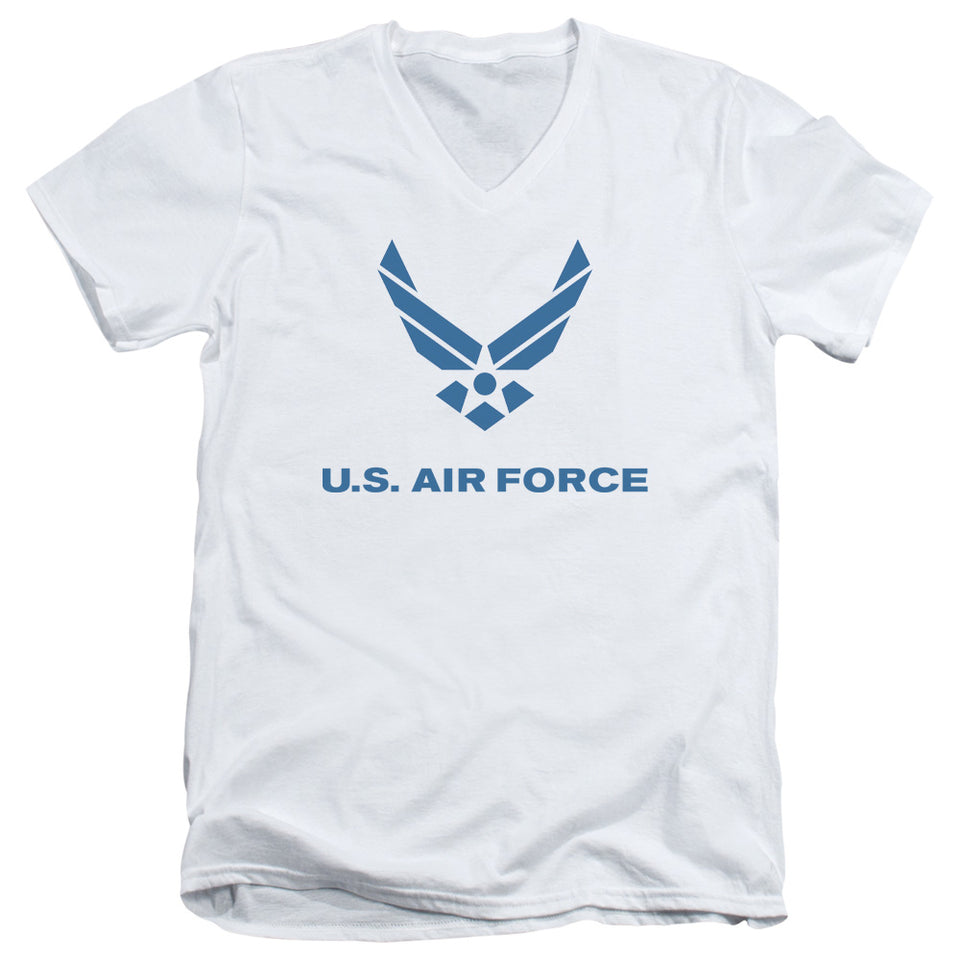 AIR FORCE/DISTRESSED LOGO-S/S ADULT V-NECK 30/1-WHITE