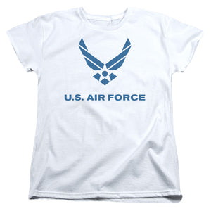 AIR FORCE/DISTRESSED LOGO-S/S WOMENS TEE-WHITE