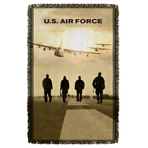 AIR FORCE/LONG WALK-WOVEN THROW-WHITE-36x58