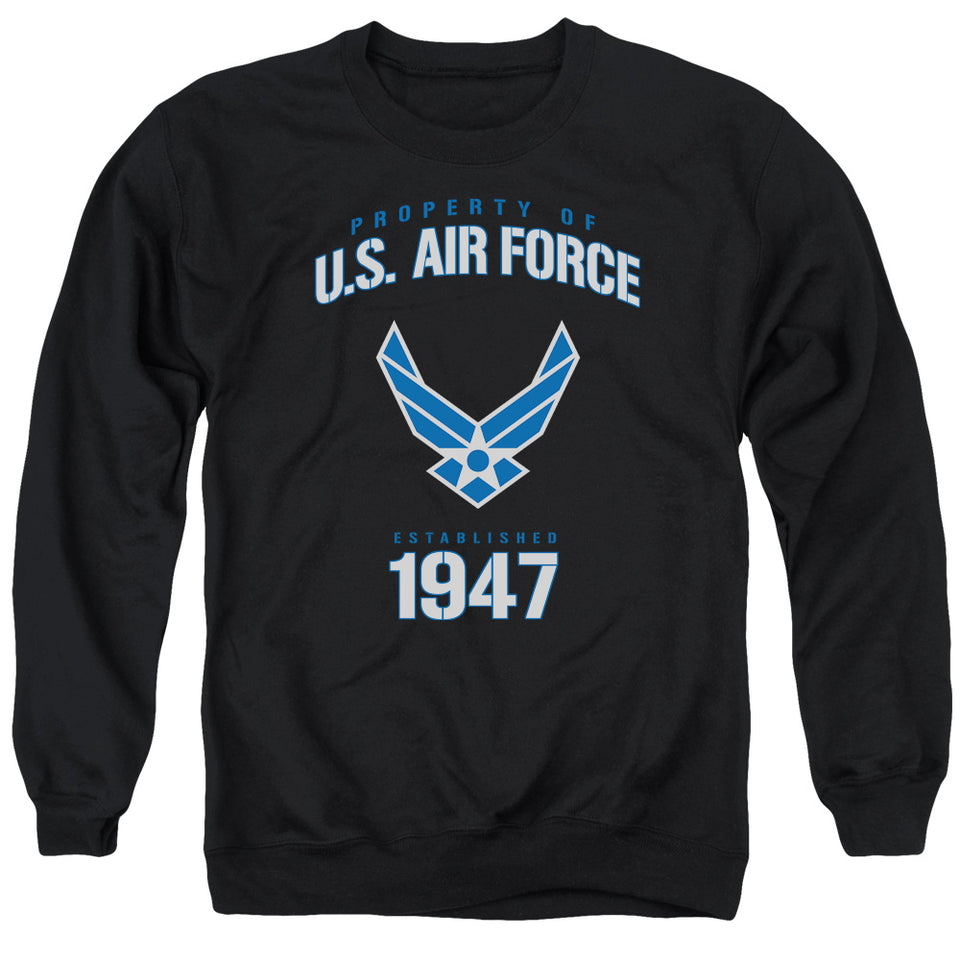 AIR FORCE/PROPERTY OF - ADULT CREWNECK SWEATSHIRT - BLACK
