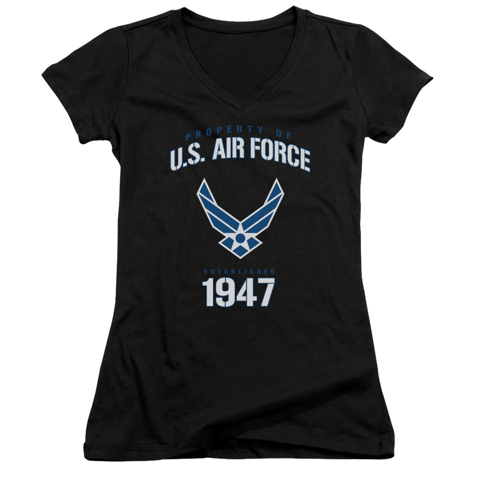 AIR FORCE/PROPERTY OF-JUNIOR V-NECK-BLACK