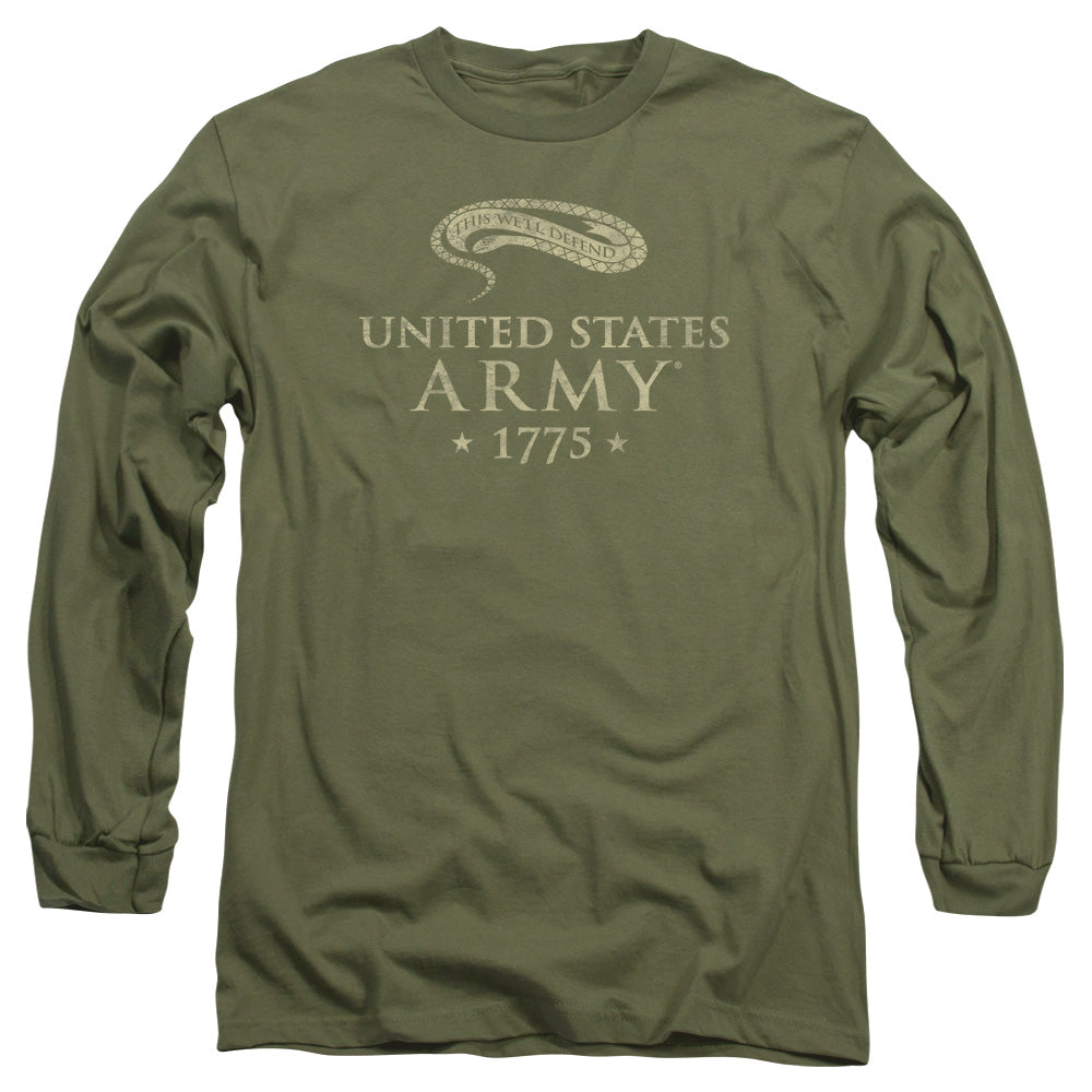 ARMY/WE'LL DEFEND - L/S ADULT 18/1 - MILITARY GREEN