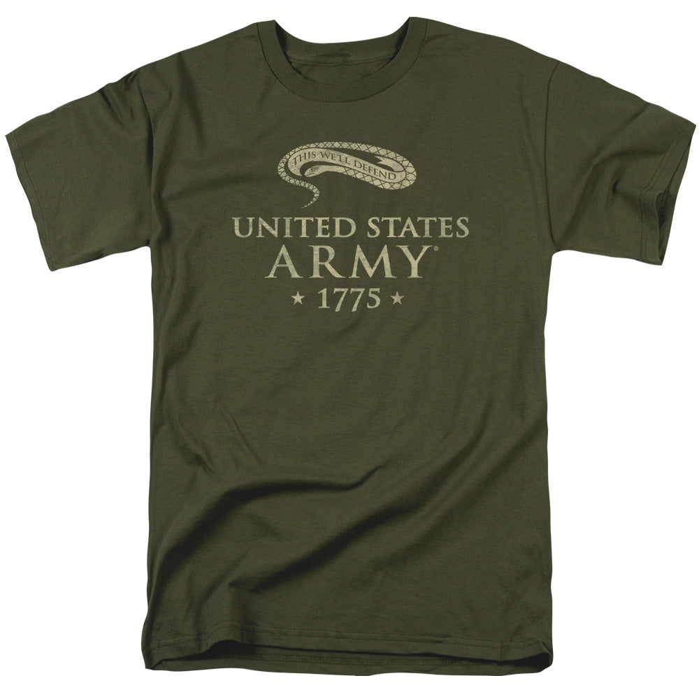 ARMY/WE'LL DEFEND - S/S ADULT 18/1 - MILITARY GREEN