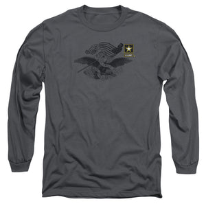 ARMY/LEFT CHEST - L/S ADULT 18/1 - CHARCOAL