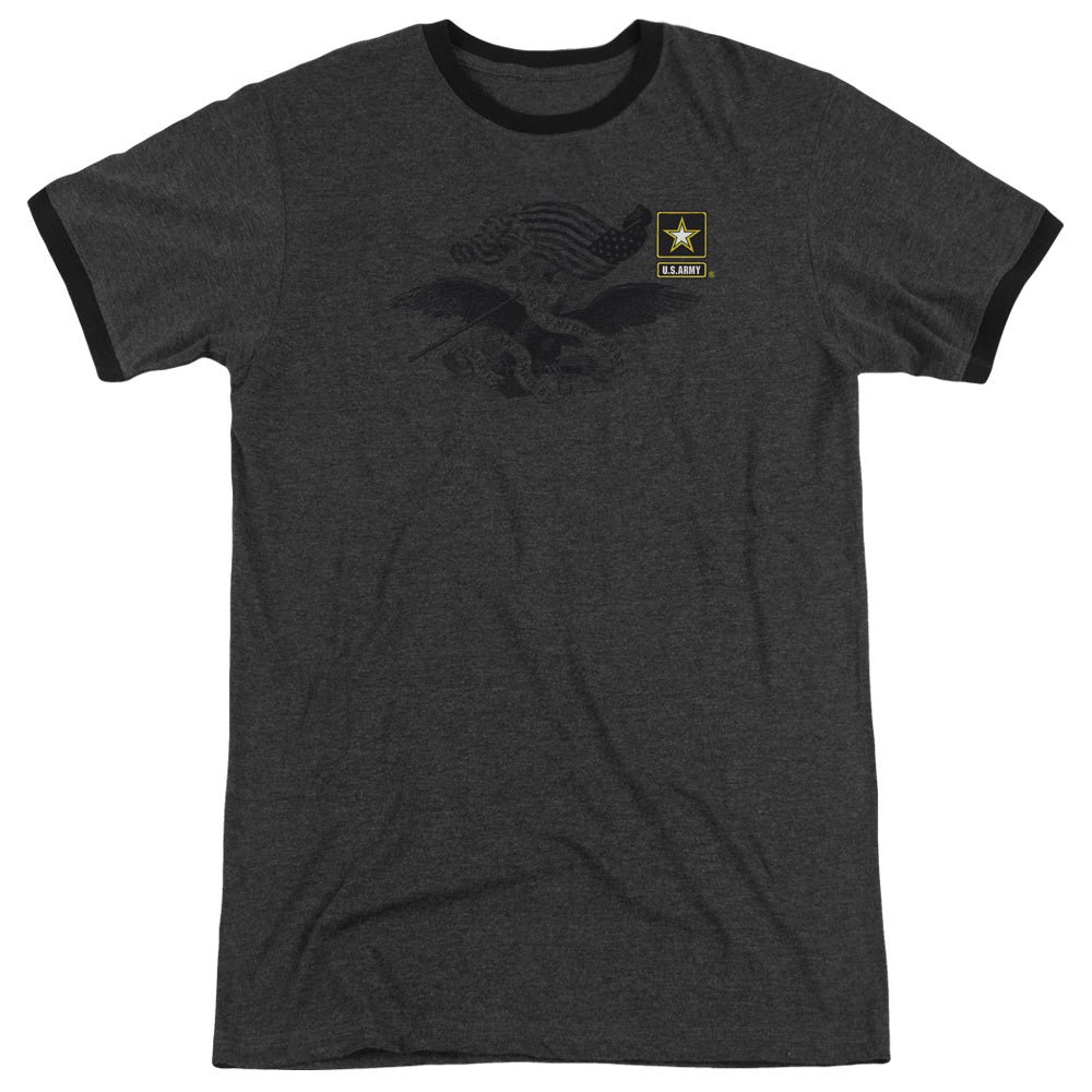 ARMY/LEFT CHEST - ADULT HEATHER RINGER - CHARCOAL