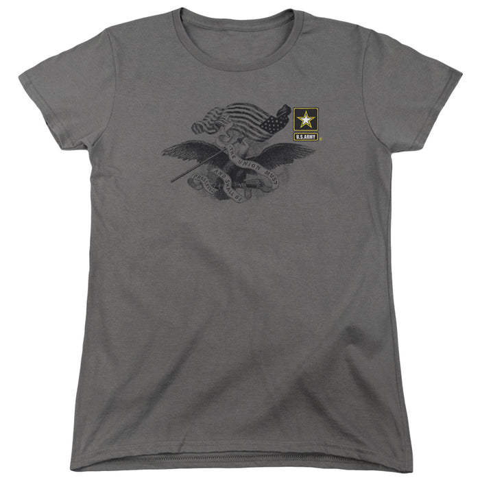 ARMY/LEFT CHEST-S/S WOMENS TEE-CHARCOAL