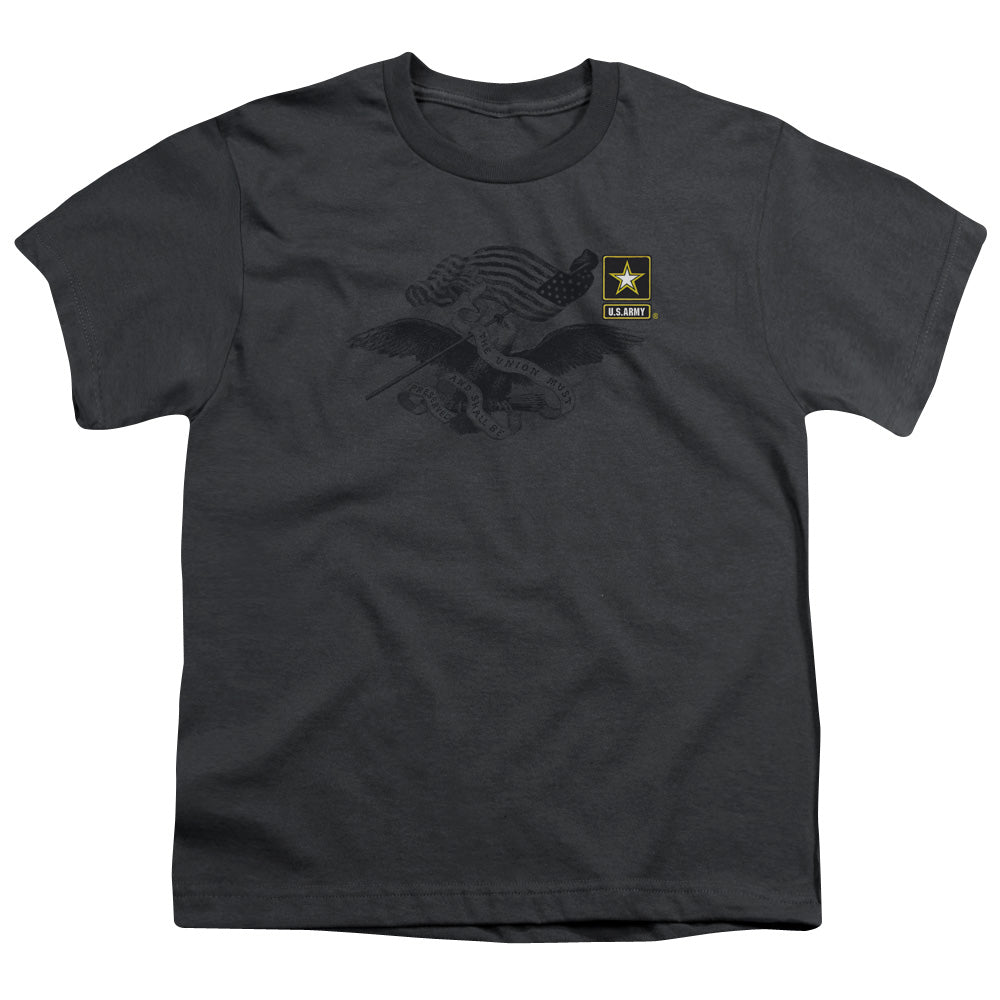 ARMY/LEFT CHEST - S/S YOUTH 18/1 - CHARCOAL