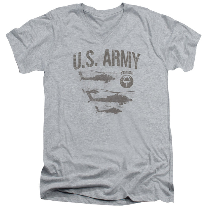 ARMY/AIRBORNE - S/S ADULT V-NECK 30/1 - ATHLETIC HEATHER