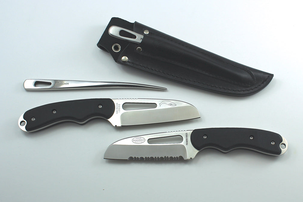 MYERCHIN Pro Black G10 Offshore System Rigging Knife