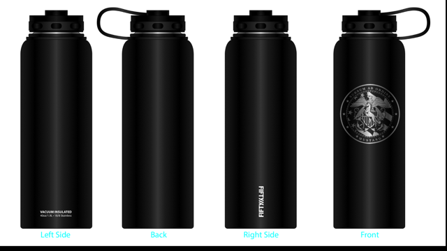 Fifty Fifty Stainless Steel Wide Mouth Water Bottle - 40 oz. Capacity *Laser Etched Mustang Logo*
