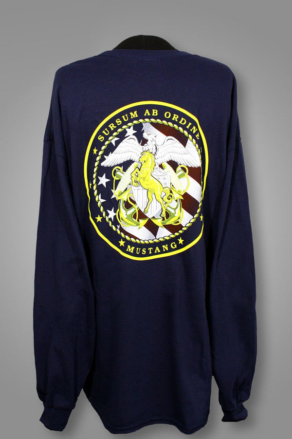 Navy Blue Long Sleeve Mustang T-Shirt