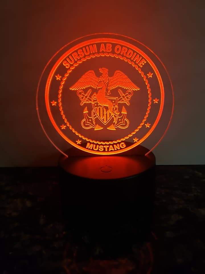 Navy Mustang LED Edge Lit Light - 6 inch round