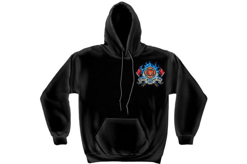 Firefighter Fire Dog First in Last out Hooded Sweatshirt