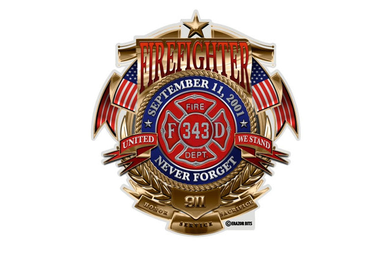 Firefighter Badge Of Honor Never Forget 9/11 Reflective Decal