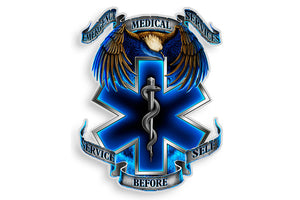 Hero's Emergency Medical Services EMS. Service Before Self Reflective Decal