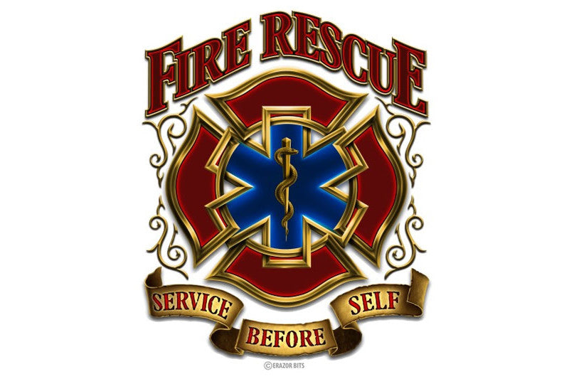 Fire Rescue Gold Shield Service Before Self Reflective Decal