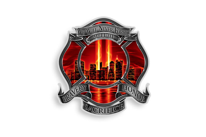 Red High Honor Firefighter Tribute 9/11 We Will Never Forget Reflective Decal