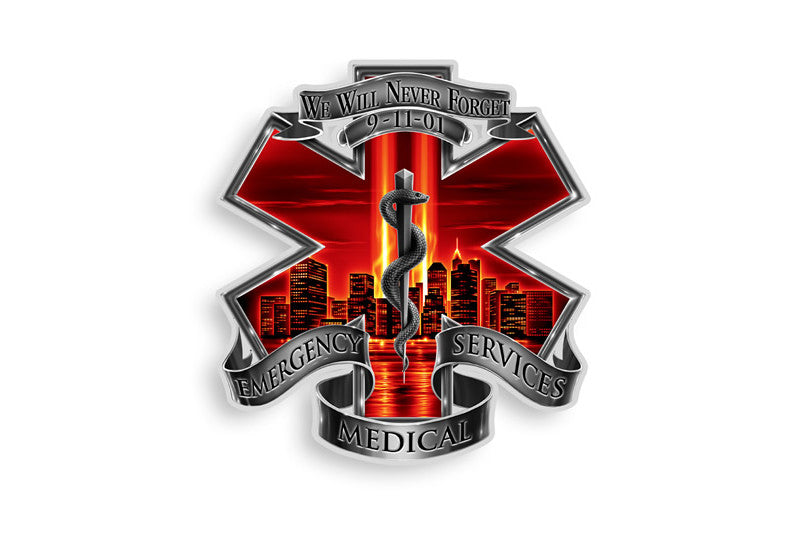 Red High Honor Emergency Medical Services EMS Tribute Reflective Decal