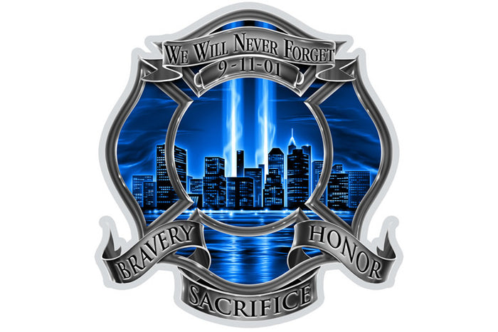 9/11 Firefighter Blue Skies We Will Never Forget. Bravery Sacrifice Honor Reflective Decal