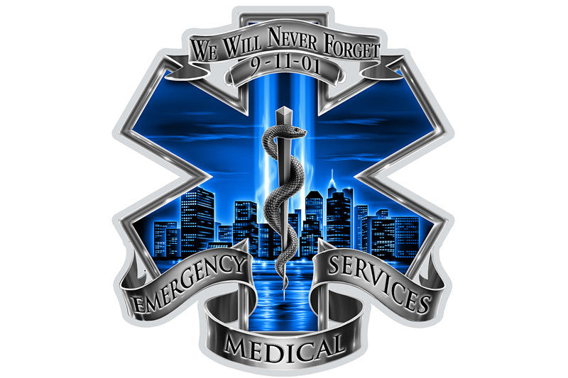 911 Emergency Medical Services EMS Blue Skies We Will Never Forget Reflective Decal