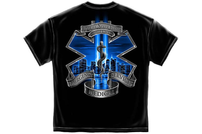 911 EMS Blue Skies We Will Never Forget Short Sleeve T Shirt
