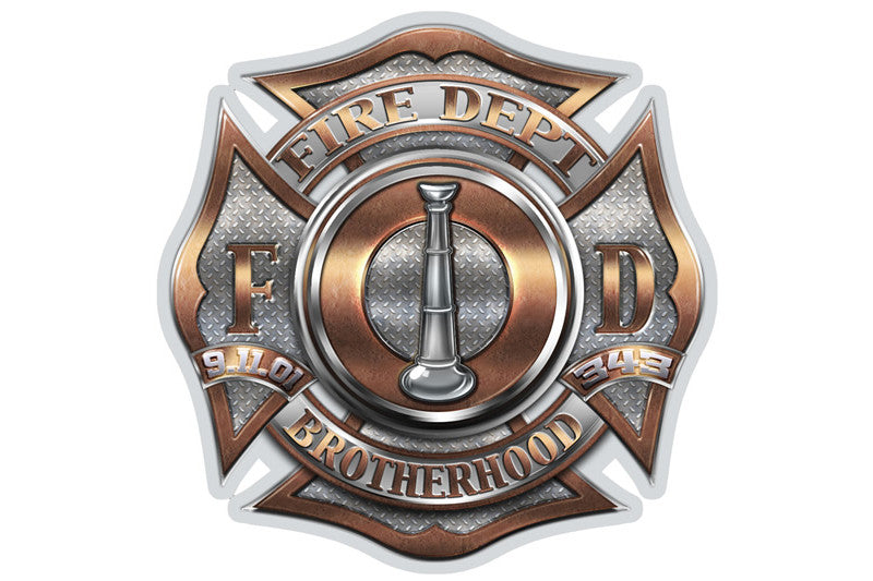 Fire Department Brotherhood 1 Bugle Ranking Reflective Decal