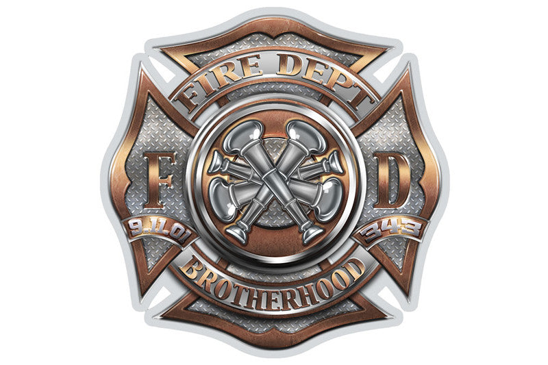 Fire Department Brotherhood 4 Bugle Ranking Reflective Decal