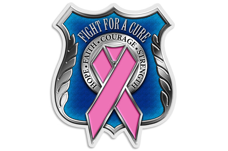 Race For a Cure. Hope, Faith, Courage, Strength. Police Pink Ribbon Reflective Decal