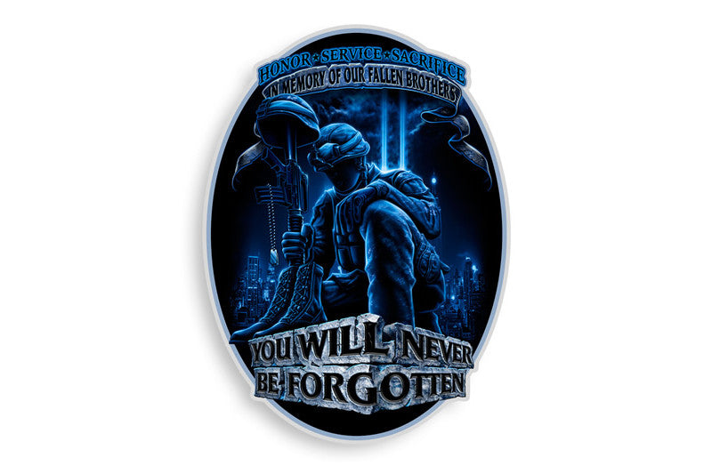 In Memory Of Our Fallen Brothers. You Will Never Be Forgotten. Soldier Reflective Decal