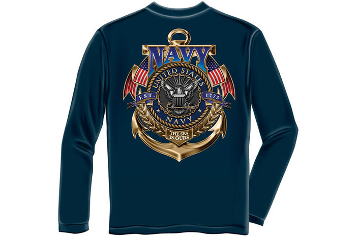 Navy The Sea is ours Long Sleeve T-Shirt